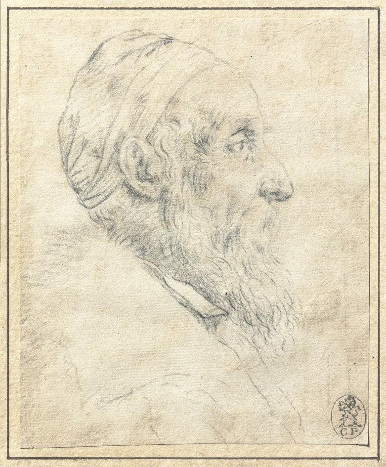 Tiziano Vecellio (Pieve di Cadore, 1495 ca. - Venezia 1576), Autoritratto, 1570 ca., gessetto nero su carta avorio, 12x9.9 cm Collezione privata, U.S.A.