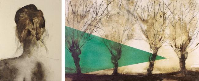 Domenico Grenci vision du monde, 2014 olio, bitume e carboncino su tela di cotone cm 64x146, dittico