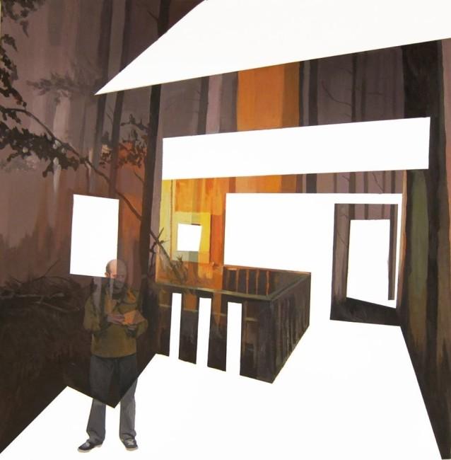 Anna Caruso, il gioco perduto, 2014, acrilico e inchiostro su tela, cm 50x50