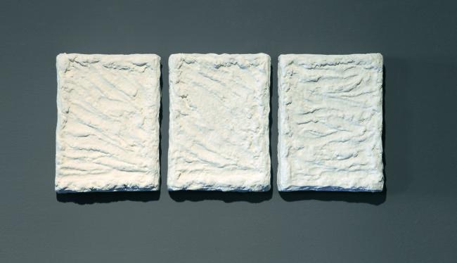 Pino Pinelli, Pittura B, 2005, disseminazione di 3 elementi da 30x23 cm ciascuno