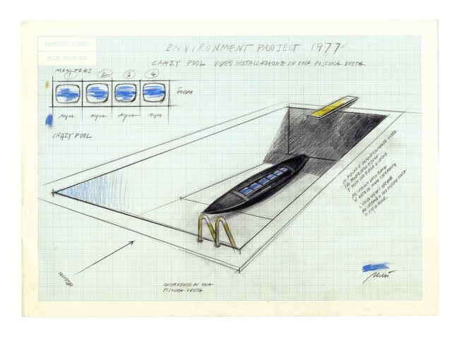 Fabrizio Plessi, Environment project , progetto per Crazy Pool, video installazione in una piscina vuota, 1977