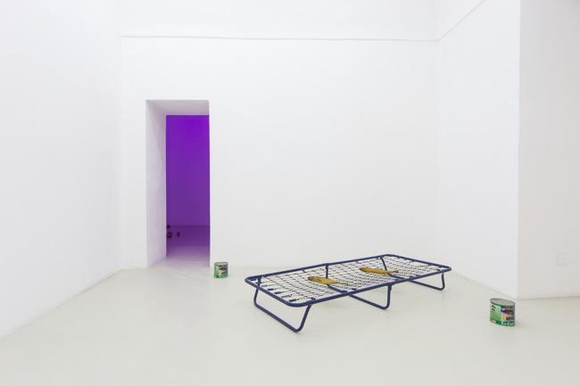 Luca Francesconi, pane pane pane vino canale di scolo, 2014, exhibition view, Galleria Francesco di Marino, Napoli