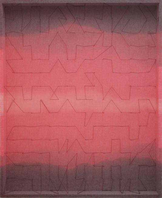 Emanuela Fiorelli, Variazioni in rosso fragola, 2013, filo di cotone, tarlatana tinta e plexiglass, 115x96x11 cm