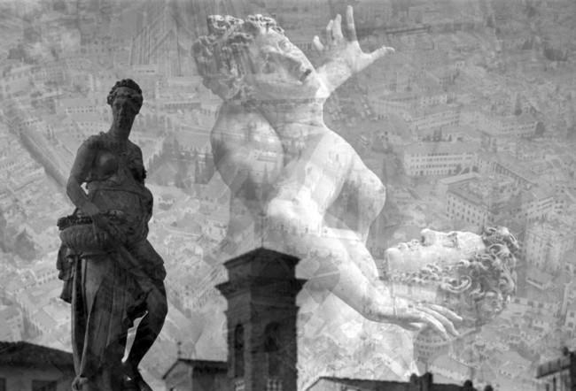 """Davide Bramante, """"My own rave"""" Firenze (Scultorea), 2014, foto in b/n realizzata con la tecnica delle esposizioni multiple, montaggio su plexiglas, dimensioni variabili Courtesy Galleria Poggiali e Forconi, Firenze"""