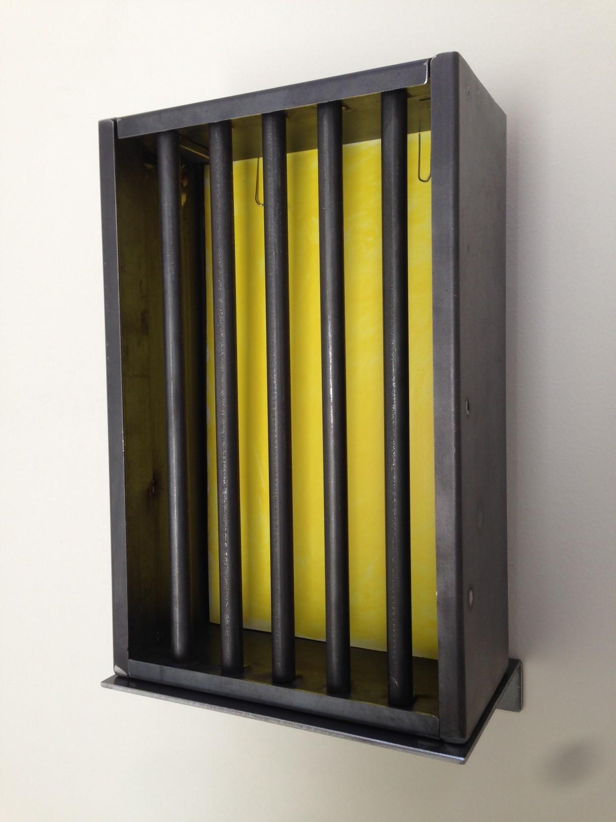 Jannis Kounellis, S.T., 2014, fondo smalto giallo su carta, ferro, carta dipinta a mano con smalto giallo, fermagli, 30x20x10 cm, ed.100 + 9AP, firmata e numerata dall'artista (Edizione per INGM)