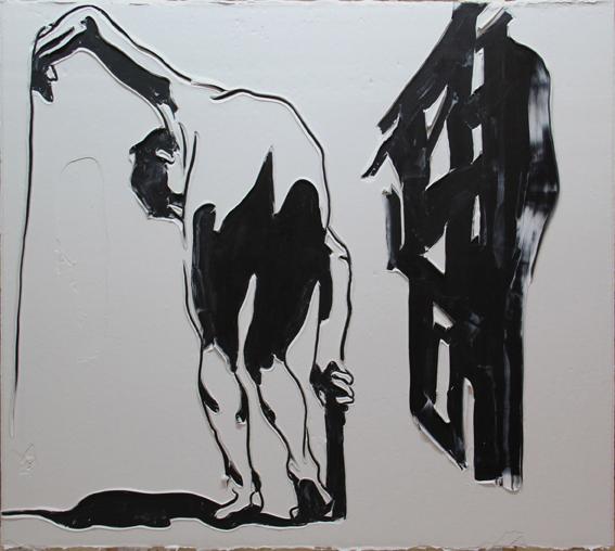 Adam Markovic, Bent On Progress, 2014, acrilico e pasta modellante su tavola, 182 x 162cm