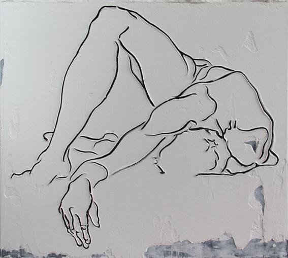 Adam Markovic, Crescendo Decrescendo, 2014, acrilico e pasta modellante su tavola, 182 x 162cm