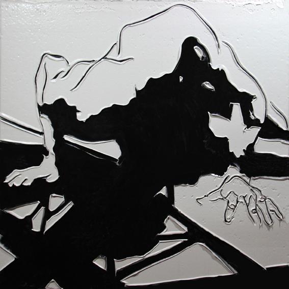 Adam Markovic, Grip and Flood, 2014, acrilico e pasta modellante su tavola, 182 x 162cm