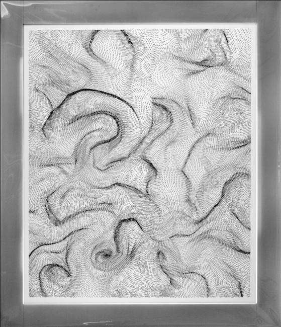 Dadamaino, Il movimento delle cose-Passo dopo passo, 1989-90, mordente su poliestere, 116x100 cm