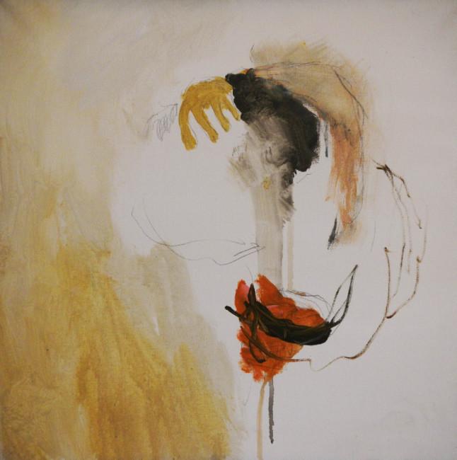 Federica Aiello Pini, Abbraccio, 2013, acrilico e grafite su tela, 50x50 cm