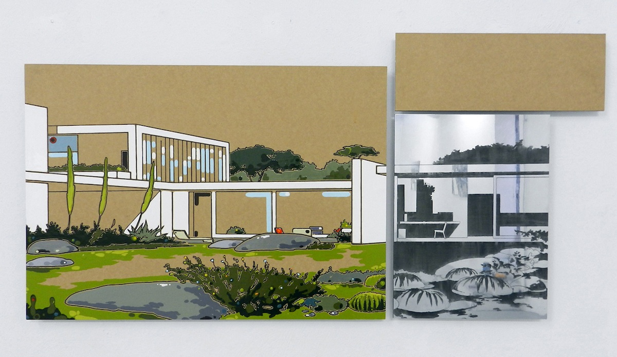 Guido Bagini, Technogreen #2, 2014, enamel on cardboard and zinc polished on dibond, 56x112 cm Courtesy The Flat - Massimo Carasi