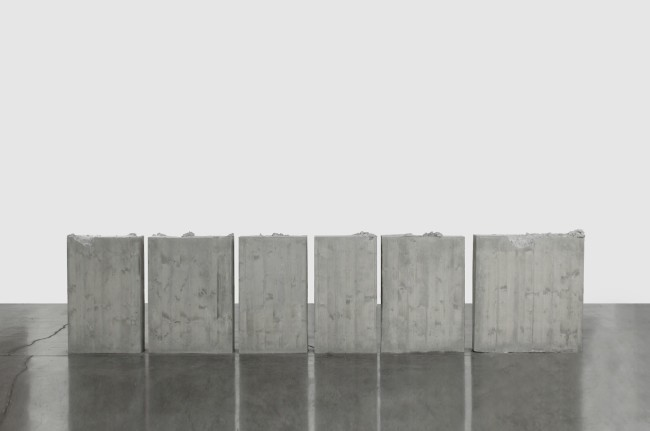 Lara Favaretto, Kicking, 2012, concrete, iron 6 parts, overall dimensions 105x500x20 cm approx., Rocío and Boris Hirmas Collection Photo Sebastiano Pellion di Persano Courtesy of the Artist and Galleria Franco Noero, Torino
