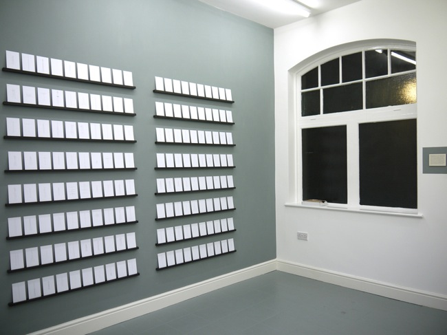 Installation view of Cross Section/02: Benjamin Bridges & Catrin Morgan (December 2012) Pictured: Catrin Morgan, Numbers Stations (2011), 161 postcards, pencil on paper Courtesy of dalla Rosa Gallery and the Artists, all rights reserved