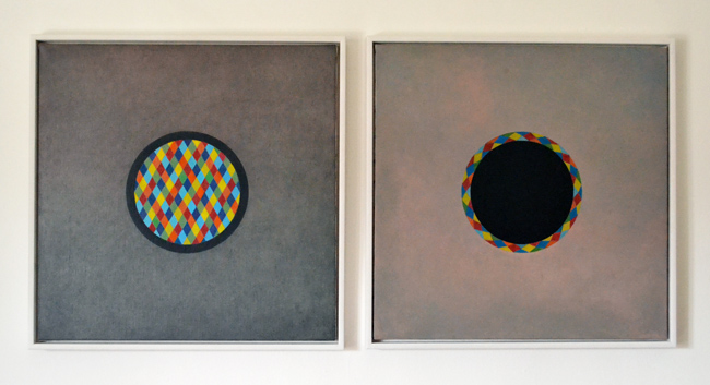 Giovanni De Lazzari, Arlecchino, 52x52(each)cm, oil on canvas, diptych, framed, 2013