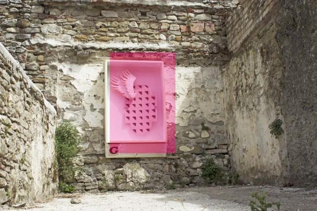 Lorenzo Cianchi e Michele Tajariol, NASR - Nuove Aree di Sosta Religiosa, 2014, installazione tecnica mista Foto Maria Todesco