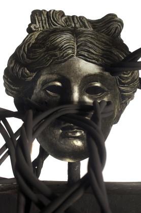 Filippo Sciascia, Gremano Esiatico 7, (particolare), 2013, olio su legno, albero nero di felce, rattan e ferro, 200 x 50 x 40 cm 2013. Courtesy Poggiali e Forconi