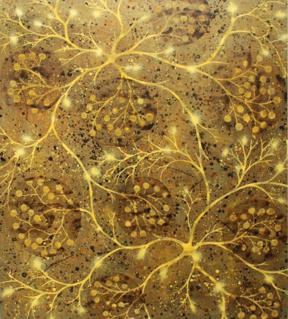 Alberto Di Fabio, Sinapsi in oro, 2007, acrilico su tela, 107x97 cm Courtesy l'artista