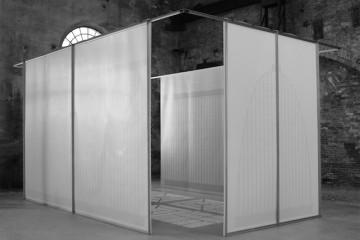 Michele Guido, greenhouse project #02 _2010/2011 _direct UV ink flatbed print on back light paper, metal, plaster _cm 350 x 720 x 450 _edition 1 + 1 ap courtesy Galleria Lia Rumma Napoli/ Milano - Galleria z2o | Sara Zanin, Roma