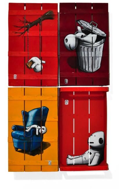 ALESSIO BOLOGNESI, Buttato dimenticato all'angolo l'altalena, 2014, cm 90x70, acrilico e spray su cassette da frutta