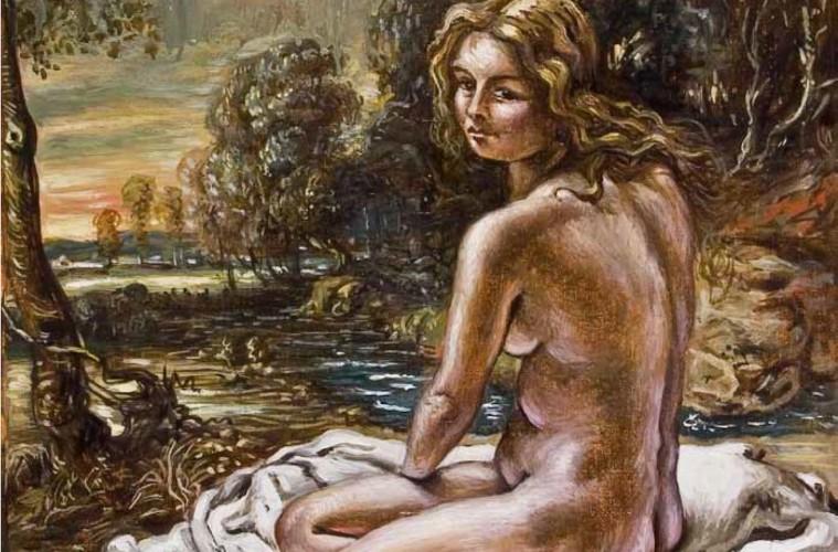 Giorgio De Chirico, Bagnante, 1953, olio su tela, 50x40 cm