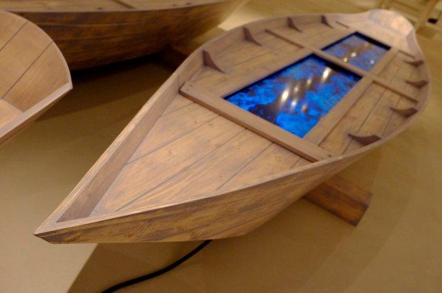 Fabrizio Plessi, Digital Boat, 2012, barca in legno d'abete, cm 340x80x65h