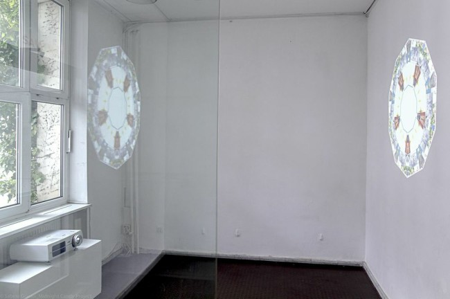 Valentina Roselli, Screen mandala, 2014, pulsing digital collages, installation view