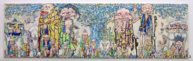 Takashi Murakami 69 Arhats Beneath the Bodhi Tree, 2013 Acrylic, gold and platinum leaf on canvas mounted on board 3000 x 10000 mm Courtesy Blum & Poe, Los Angeles (c)2013 Takashi Murakami/Kaikai Kiki Co., Ltd. All Rights Reserved.