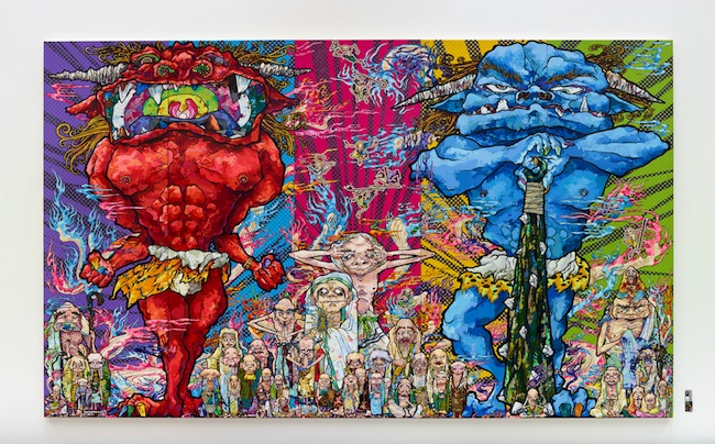 Takashi Murakami (Japanese, 1962-) Red Demon and Blue Demon with 48 Arhats, 2013 Acrylic, gold and platinum leaf on canvas mounted on board 3000 x 5000 mm Courtesy Blum & Poe, Los Angeles (c)2013 Takashi Murakami/Kaikai Kiki Co., Ltd. All Rights Reserved.