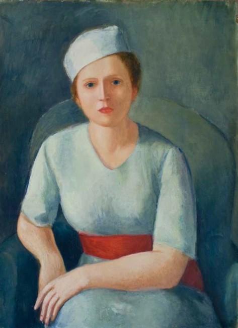 Virgilio Guidi, Donna dalla cintura rossa, 1929, olio su compensato, 90x62 cm