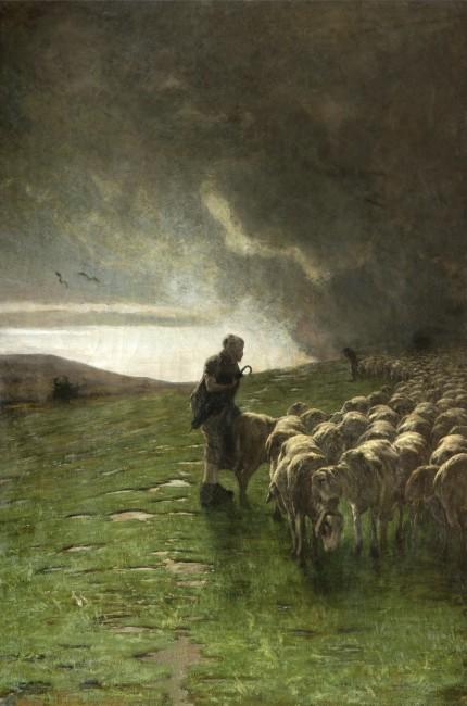 Giovanni Segatini, Dopo il temporale, 1883-1885, olio e tempera su tela, 180x123 cm, Collezione privata