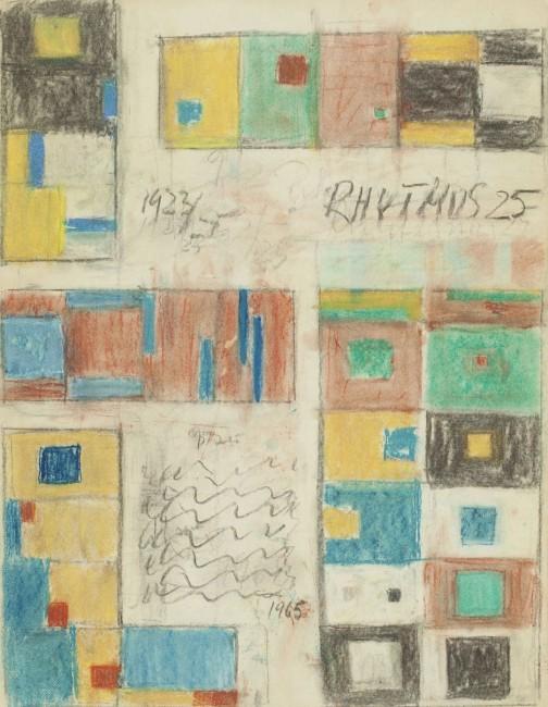 Hans Richter, Rhythmus 25, 1965, tempera su carta su tela, 56.5x43.8 cm, Collezione privata, © 2014 Hans Richter Estate Foto © 2013 Museum Associates/LACMA