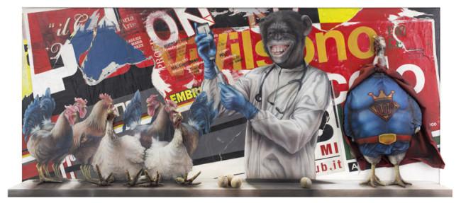 Federico Unia, 960 polli&galline D.O.Pati a Terra, Tecnica mista - 90x180x21 cm - 2014