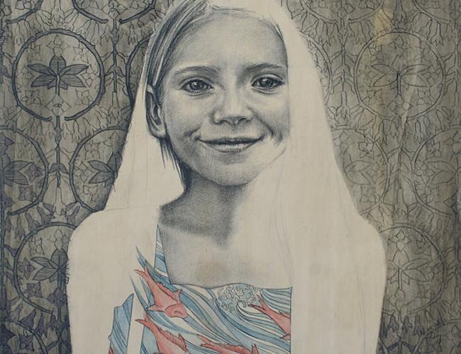 Giorgia Beltrami, Agata e il sogno, 2014, grafite e olio su tavola, cm. 40x40