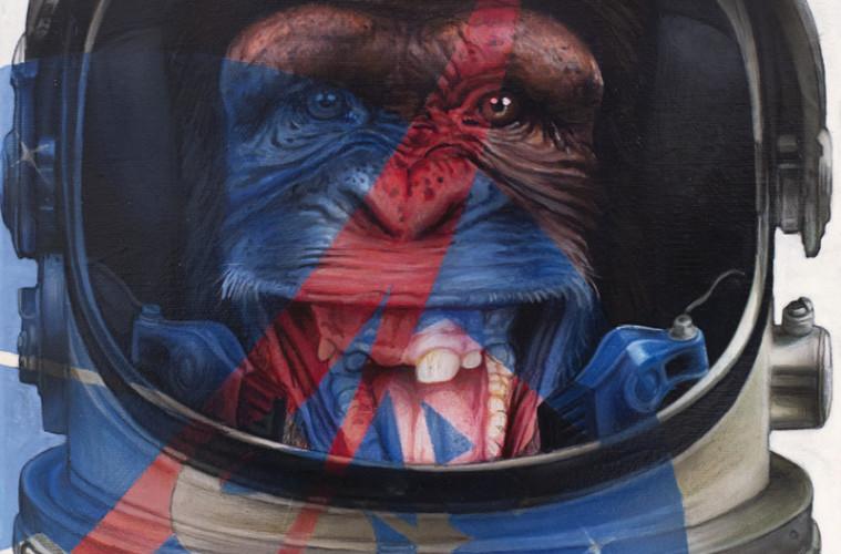 Federico Unia, L'abito non fa il monaco n.1 (L'astronauta), Collezione Privata Rusconi, Tecnica mista, 40x30 cm, 2013