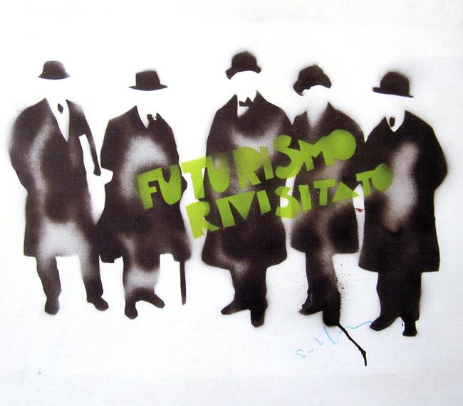 Mario Schifano, Futurismo Rivisitato 1978-81, spray smalto su tela cm 88,05x 100,05. Collezione privata Cuneo