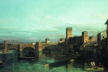 Bernardo Bellotto, La Veduta di Verona con Castelvecchio e il ponte Scaligero da monte dell'Adige, olio su tela, 84.5x137.5cm, Collezione Fondazione Cariverona