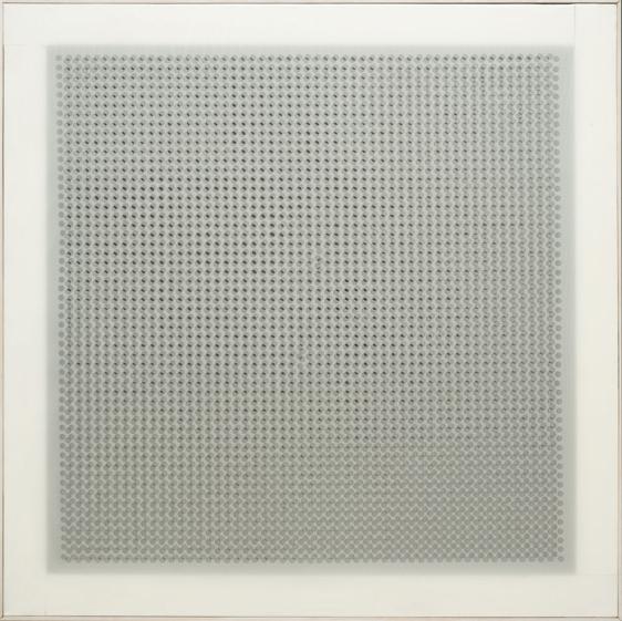 Dadamaino, Volume a moduli sfasati, 1960, plastica fustellata, 100x100 cm, Collezione privata