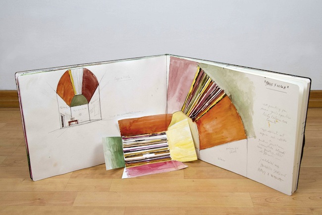 Disegno progettuale, 2014, acquerello, matita e inchiostro su moleskine, mm 350x500, ph courtesy Carlo Ferrara
