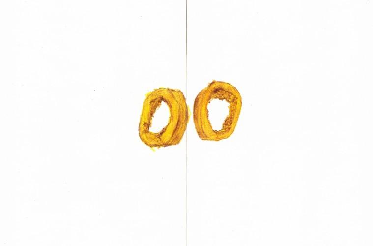 Serena Vestrucci, Disegnare contemporaneamente con la sinistra e con la destra per 4 ore è lavorare 8 ore 2014 Matite su carta, 42 x 59,4 cm, quattro ore
