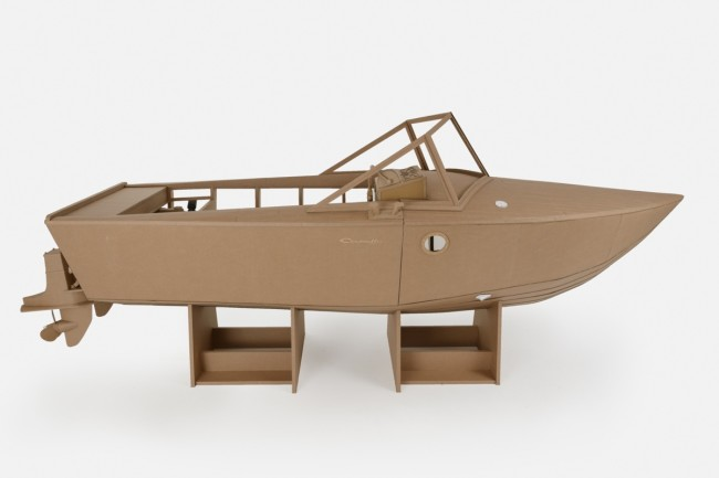 Chris Gilmour, work in progress Yacht Cantieri Camuffo, cartone e colla, 7x3x1 m, 2013 - stand Salone Nautico Genova