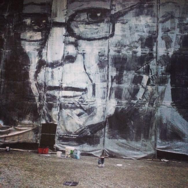 Collettivo FX, Var pusee un andà che cent andemm, 2014, wall painting su telone da ponteggio (Spazio Natta)