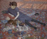 Felice Casorati, Bambina che gioca su un tappeto rosso, 1912, Fine Arts Museum Ghent © Lukas-Art in Flanders vzw Foto Hugo Maertens