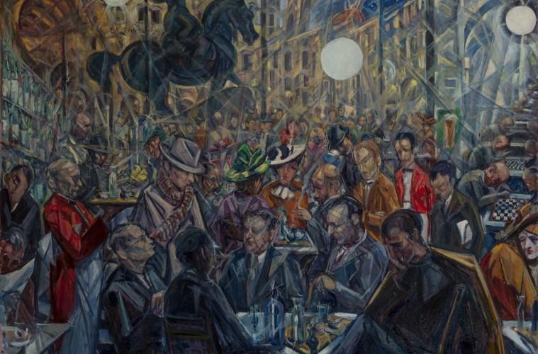 Baccio Maria Bacci, Solaria alle Giubbe Rosse, 1930-1940, olio su tela cm. 107,5×142, Firenze, Galleria d'arte moderna di Palazzo Pitti, donato dall'autore nel 1968.