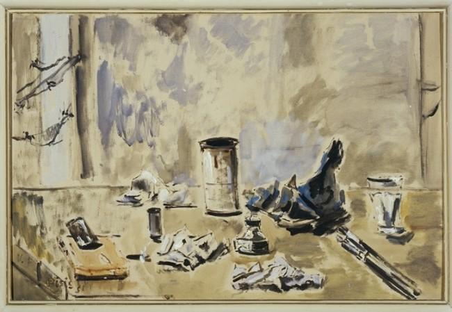 Filippo De Pisis, Natura morta con ragnatele, 1951, olio su tela, cm. 60x90, Galleria d'arte moderna di Palazzo Pitti, acquistato alla IV° Mostra Nazionale del Premio Fiorino, Galleria Accademia, Firenze 1953.