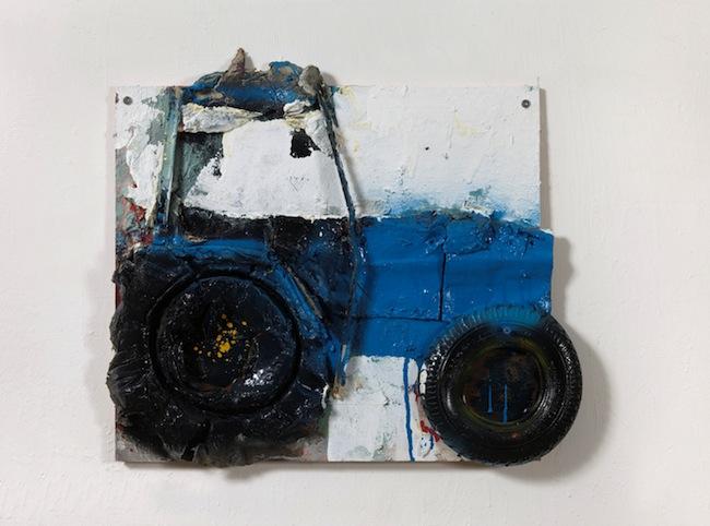 G. Cossio, Il Landini, 2014, tecnica mista e collage su tavola,  cm. 54x60x5, foto Dario Lasagni