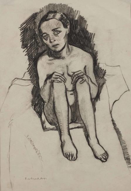 Felice Casorati, Bambina seduta a terra, (1915 c.?), carboncino su carta, legato Alberto Rossi, Torino 1956