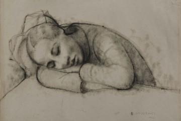 Felice Casorati, Bambina dormente, 1927, carboncino su carta, acquisto presso la Mostra Amici dell'Arte, Torino 1927