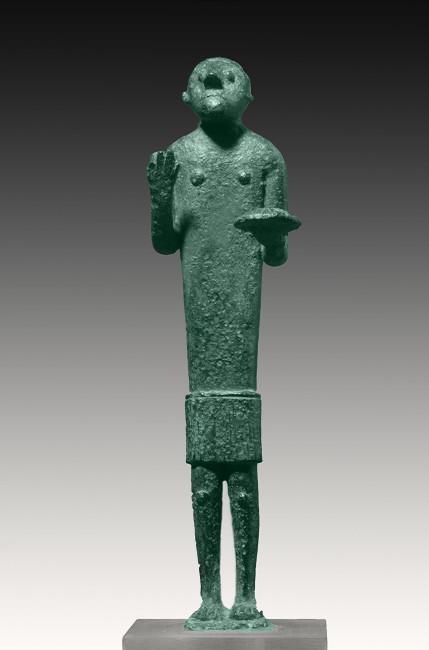 Offerente con focaccia, Età del ferro, bronzo, 17.3 cm, Museo Archeologico Nazionale di Cagliari, Cagliari