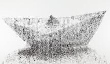 Danilo Bucchi, PAPER BOAT, 2014, enamel on canvas, 130x200 cm