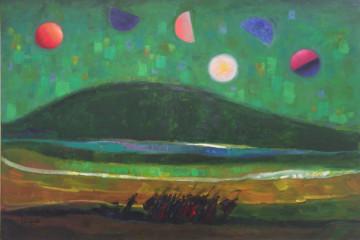 TRENTO LONGARETTI, la collina verde scura e i fuggiaschi, 2007, olio su tela, 120 x 180 cm
